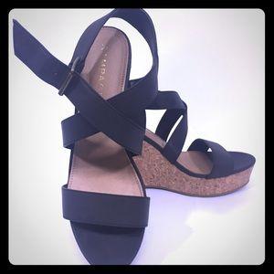 RAMPAGE Womens Black Cork Sandals